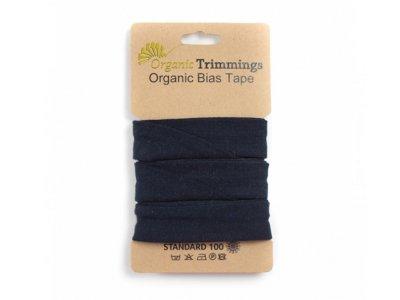 Jersey Organic Cotton Schrägband/Einfassband gefalzt 20 mm Breit x 3 Meter Coupon - uni navy