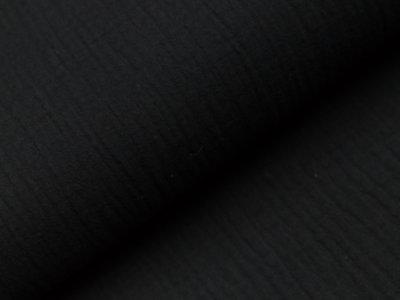 Musselin Double Gauze - uni schwarz