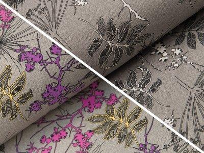 Sweat French Terry Farbwechsel Color Changing Print  - Zweige und Blätter - meliert grau
