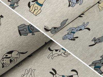 Alpenfleece Farbwechsel Color Changing Print - Hunde - meliert grau