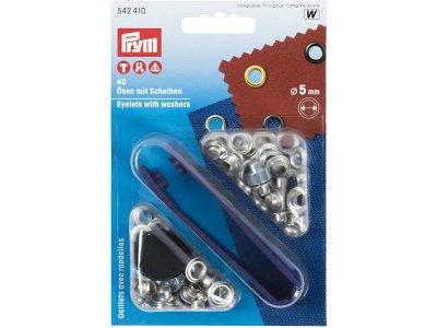 Prym Ösen mit Scheiben 5 mm 40 Stück für Bänder - silberfarben