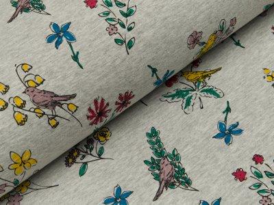 Alpenfleece - bunte Blumen und Vögel - meliert grau