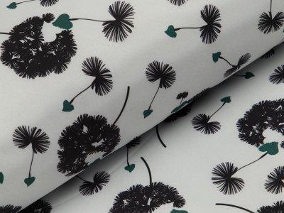 Jackenstoff Softshell - Pusteblumen und Herzen - helles grau