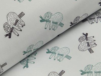 Jackenstoff Softshell - Faultiere - helles grau