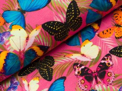 Sommersweat French Terry - bunte Schmetterlinge und Palmenblätter - pink
