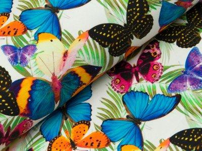 Sommersweat French Terry - bunte Schmetterlinge und Palmenblätter - weiß