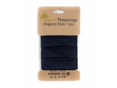 Popeline Organic Cotton Schrägband/Einfassband gefalzt 20 mm Breit x 5 Meter Coupon - uni navy