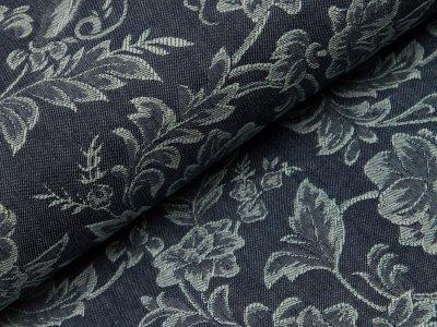 Elastischer Jacquard Jeansstoff Doubleface - Blumen - jeansblau
