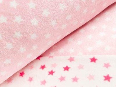 Wellnessfleece Double Face - Sterne - weiß/helles rosa
