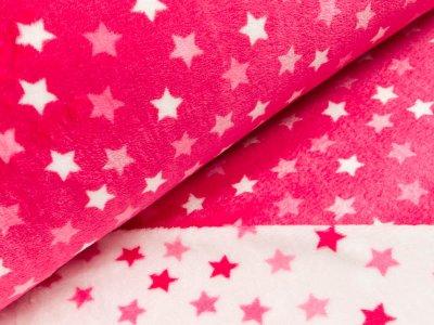 Wellnessfleece Double Face - Sterne - weiß/pink