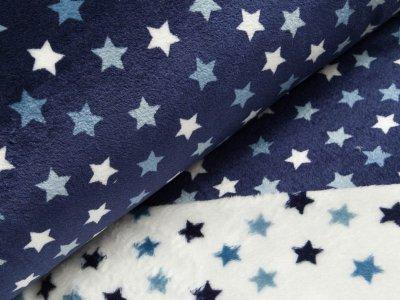 Wellnessfleece Double Face - Sterne - weiß/dunkles blau