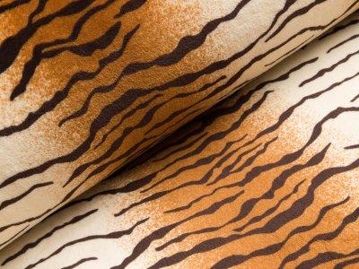 Wellnessfleece Double Face - Tigermuster - orange/beige
