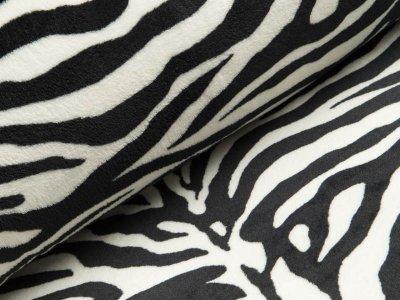 Wellnessfleece Double Face - Zebramuster breit - schwarz/weiß