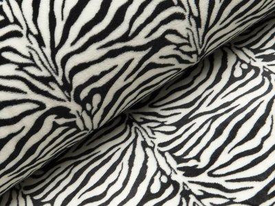 Wellnessfleece Double Face - Zebramuster schmal - schwarz/weiß