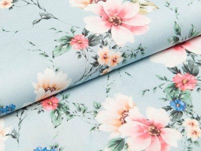 Webware Viskose - Blüten - altmint