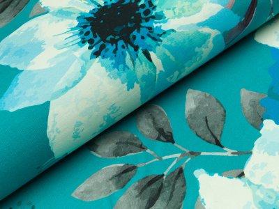 Sweat - große Blumen und Blätter - türkis