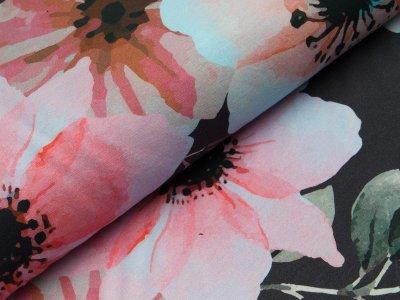 Sweat - große Blumen und Blätter - schwarz