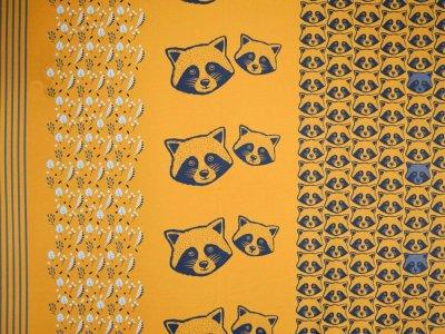 Sweat French Terry Sam PANEL ca. 90 x 155 cm - Waschbären - senfgelb