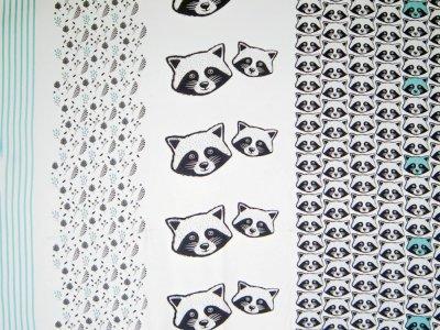Sweat French Terry Sam - PANEL ca. 90 x 155 cm -Waschbären - weiß/ mint