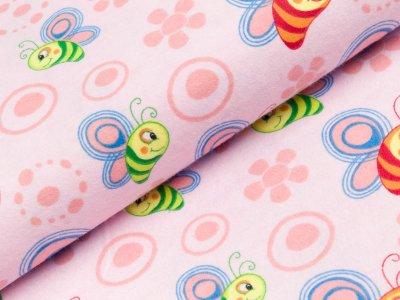 Flanell Baumwollstoff - Schmetterlinge - helles rosa