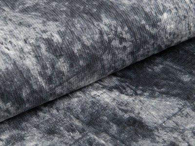 Cord elastisch - Knitteroptik - grau/weiß