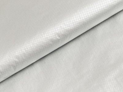 Leichter Jackenstoff mit Foliendruck Metallic Milliblu´s - silber