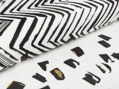Velvet Scuba PANEL ca. 75 x 140 cm Milliblu´s - Zickzackmuster mit Tupfen - weiß