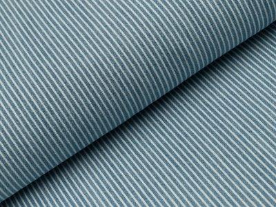 Jeansstoff - Oshkosch - Streifen -  blau/weiß