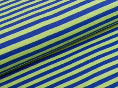 Interlock - Streifen - blau/grün