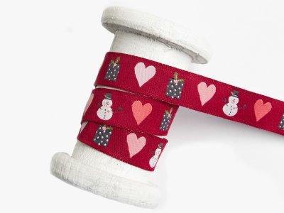 Webband 15mm - Weihnachtsmotive und Herzen - rot