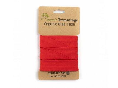 Jersey Organic Cotton Schrägband/Einfassband gefalzt 20 mm Breit x 3 Meter Coupon - uni rot