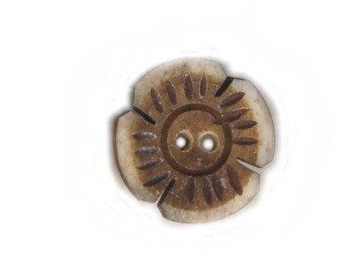 Echt Steinnuss, Blumenknopf beige 21 mm