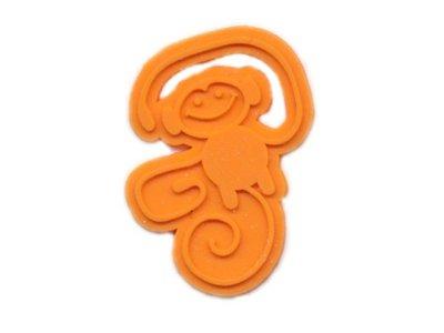 Kunststoff Etikett Monkey Serie Monkey Business orange
