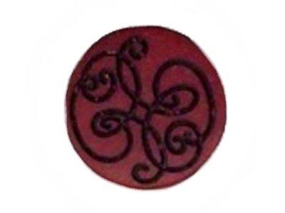 Knopf mit eingravierten Verzierungen bordeaux 19mm