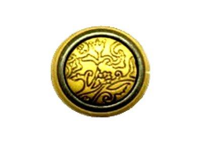 Gewoelbter Knopf mit eingraviertem Tulpenmuster gelb 20mm