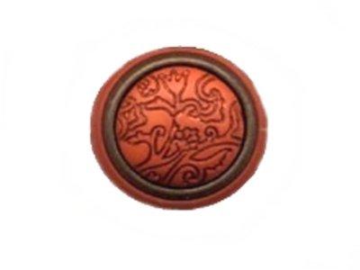 Gewölbter Knopf mit eingraviertem Tulpenmuster orange 20mm