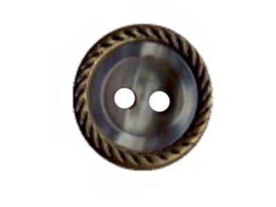 Runder Knopf Perlmuttoptik mit geprägtem Rand 15mm grau