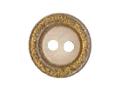 Runder Knopf mit Gold-Glitzerrand 13mm weiß