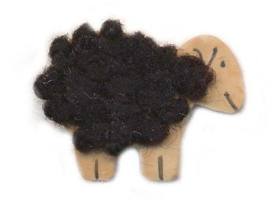 """Cocos Knopf """"Schaf mit schwarzer Wolle"""" 25mm helles kokos"""