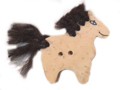 """Cocos Knopf """"Pferd mit schwarzer Wolle"""" 30mm Cocos natur"""