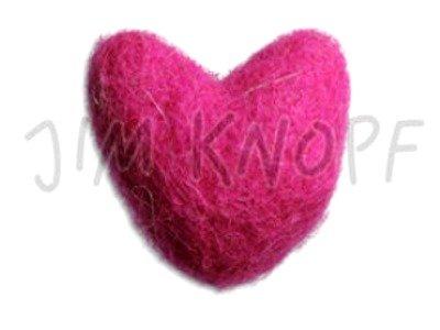 """Filz-Applikation """"Herzchen"""" 26mm pink"""