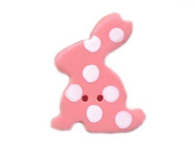 """Knopf """"gepunkteter Hase"""" 20mm pink"""