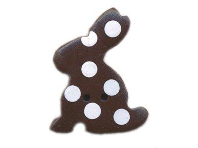 "Knopf ""gepunkteter Hase"" 20mm chocolate"