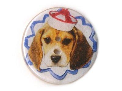 """Cocos Knopf rund """"Beagle Skipper"""" 19mm weiß"""