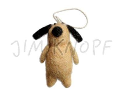 "Filz-Applikation ""Hund Wuff"" 6,4cm braun"