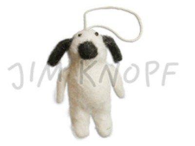 """Filz-Applikation """"Hund Wuff"""" 6,4cm naturweiß"""
