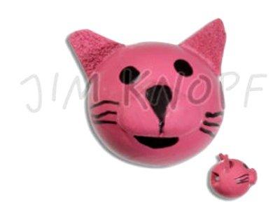 """Jim-Knopf Holzknopf """"Katze Minni"""" 15mm pink"""