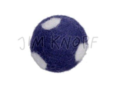 "Jim-Knopf Filz-Applikation ""Kleiner Punkte-Ball"" 2cm dkl. blau"