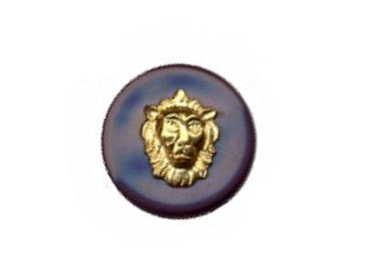 """Runder Knopf """"Löwe"""", blaugrau, 15mm"""