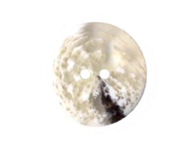 Runder transparenter Knopf, weiß und schwarz gemustert, 22mm
